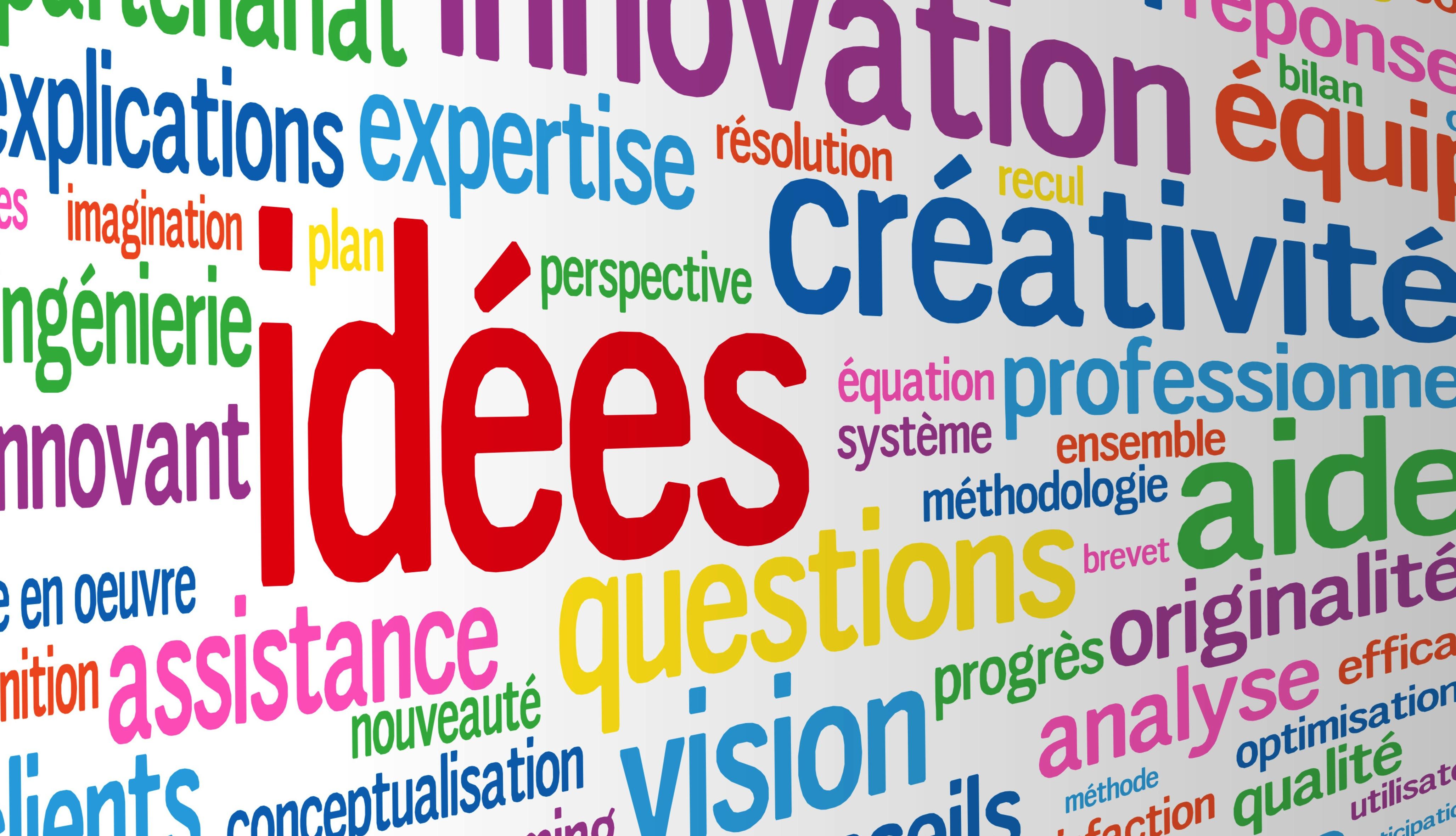 Idées, créativité, innovation (nuage de mots clés)